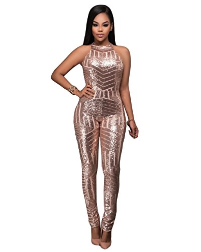 Sexy Gold Sequin (Women Sexy Sleeveless Sequin Backless Bodycon Party Clubwear Jumpsuit Romper Gold XL)