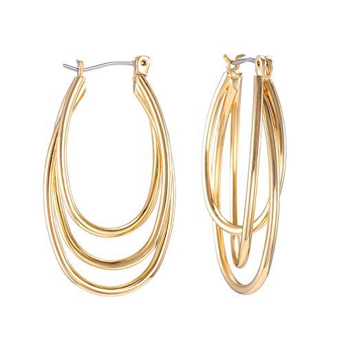 Gold Oval Hoop Earrings, Statement Triple Interwined 3 Hoop Earrings for Women Girls Christmas Gift(Gift Box Included) ()