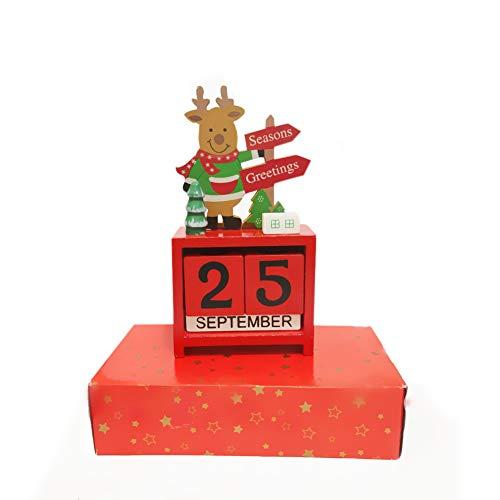 Desk Calendar Countdown Blocks - Christmas Daily Family Calendar Merry Christmas Decorations Decor Gifts -
