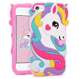 iPod Touch 5 Unicorn Case, iPod Touch 6 Animal Case, BEFOSSON Adorable 3D Cartoon Rainbow Horse Animal Soft Silicone Gel Phone Cover Case for iPod Touch 5th / 6th Generation (Colorful Unicorn)
