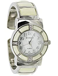 White Mother of Pearl Watch Cuff Inlay Style with Crystal Accents