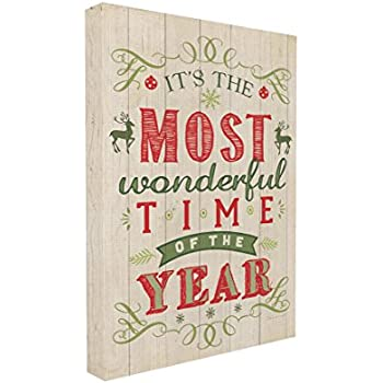Stupell Home Décor It's The Most Wonderful Time Of The Year Holiday Typography Art Canvas, 16 x 1.5 x 20, Proudly Made in USA