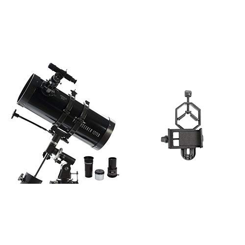Celestron PowerSeeker 127EQ Telescope with Basic Smartphone Adapter 1.25'' Capture Your Discoveries by Celestron