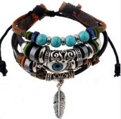 fashion-vintage-feather-charm-bracelet-with-evil-eye-and-turquoise-beaded-bracelet