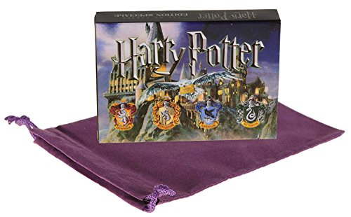 Harry Potter 2 Decks of Special Edition Playing Cards _(Symbols & Crests Playing Cards) _ in Matchbox Style Storage Case _ Bonus Purple Velveteen Drawstring Storage Pouch _ Bundled (Slytherin Symbol)