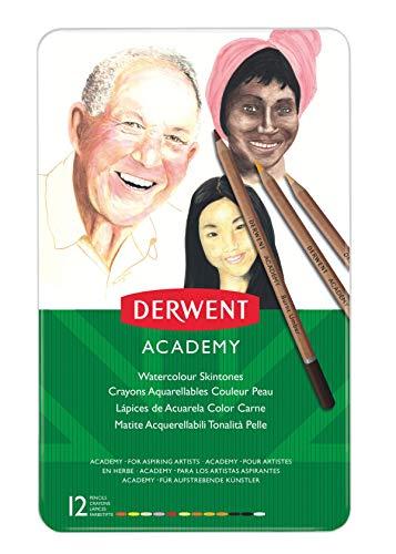 - Derwent Academy Watercolor Pencils, Skintones, Metal Tin, 12 Count (2300386)