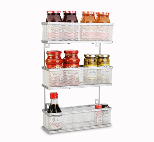 Mesh Spice Rack - Artestia Wall Mount 3-Tier Metal Wire Mesh Multipurpose Storage Rack for Kitchen / Bathroom / Garage (Silver)