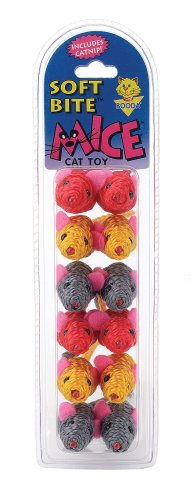 Petmate Soft Bite Cat Toy, Small, 12-Pack, Sisal Mice