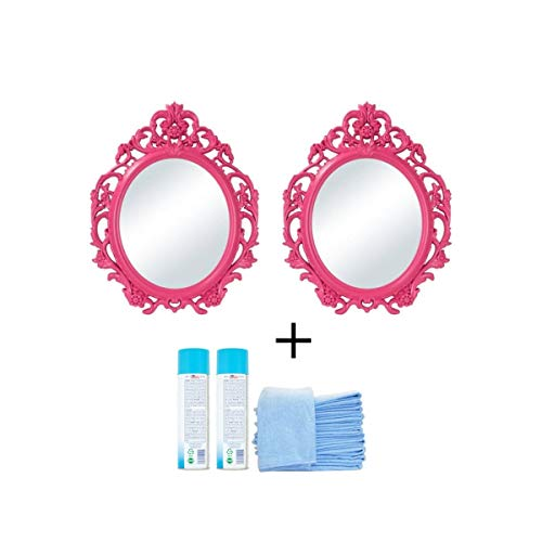 Set of 2 Baroque Style Oval Wall Mirror in Fuchsia Color