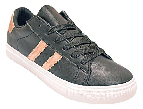 Shop Pretty Girl Fashion Sneakers Womens Star Vegan Leather Comfortable Casual Fashion Euro Star Shoes (6, Black/Rose) (Fashion Girl Pretty)
