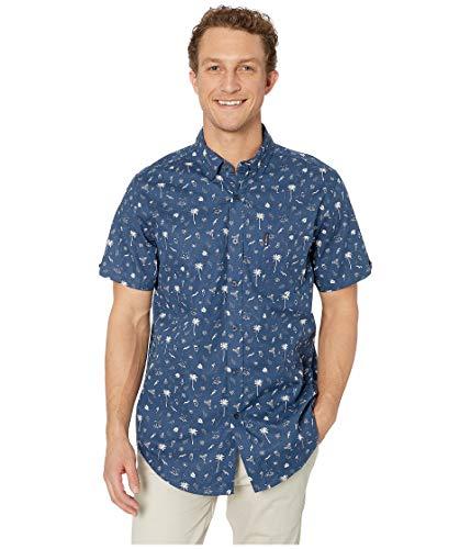 - Ben Sherman Men's SS Palms Print Shirt, Dark Blue XXL