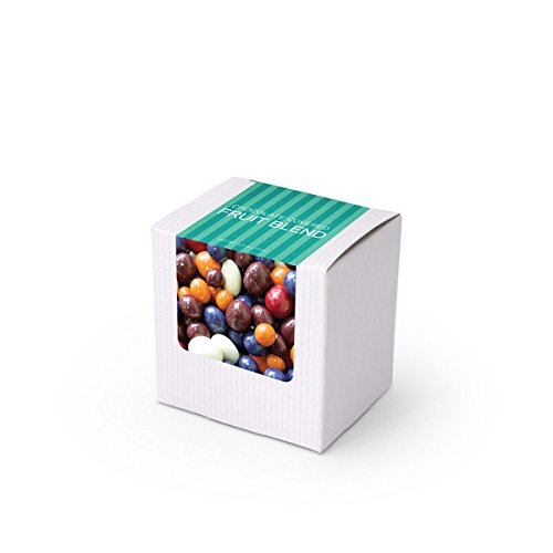 Chocolate Covered Dried Fruit, 3'' White Box 48ct/3.8oz by In-Room Plus, Inc.