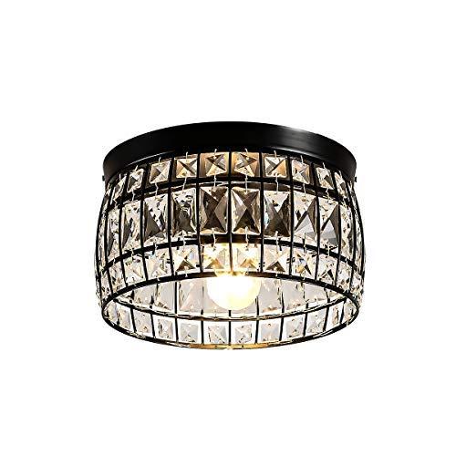 LBTSMUK Semi-Flush Mount Modern Ceiling Light Crystal Glass Shade Ceramic Holder Industrial Island Lighting Fixture…