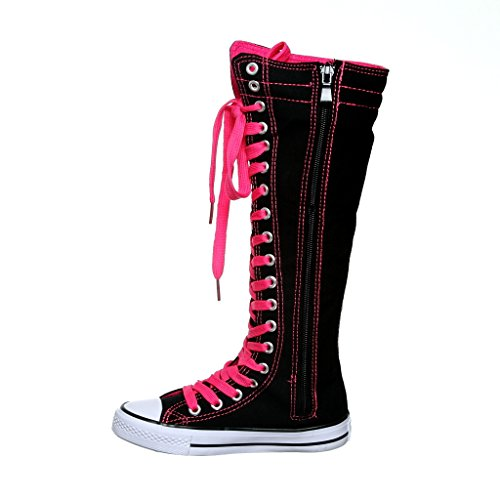 NEW Canvas Sneakers Flat Tall Punk Skate Shoes Lace up Knee High Boots FOR KIDS (12, black/fuchsiaTP) [Apparel]