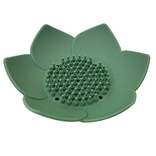 CLAIRLA Lotus Flowers Soap Dish with Drain for Bathroom & Kitchen, Toilet Waterfall Soap Holder, sish Saver, Easy Cleaning, Dry, Stop Mushy didh (Green) (Ceramic Flower Dishes)
