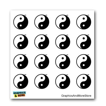 Yin and Yang Asian Chinese Symbol - Set of 16 - Window Bumper Laptop Stickers