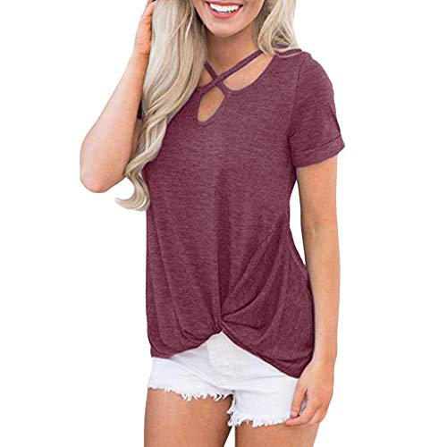 Amlaiworld Women Plus Size Shirt Casual Short Sleeve Knot Shirts Front Cross V-Neck Tunic Loose Blouse Tops Summer Tee Shirt ()
