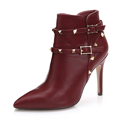 Buckle Women's Heels Leather Boots Pointed Studded Booties Wine VOCOSI Thin High Straps Ankle Toe wznqtA1d