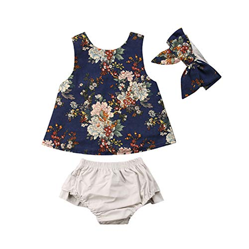Bloomers Terry - 0-3Y Newborn Toddler Baby Girl Sleeveless Floral Vest Back Cross Tops+Ruffles Shorts Baby Bloomers Headband 3PCS Clothing Set(6M,as picture)