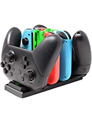Controller Charger for Nintendo Switch, 6 in 1 Charging Dock Stand for Nintendo Switch Joy-Con and Pro Controller with Charging Indicator and Type C Charging Cable