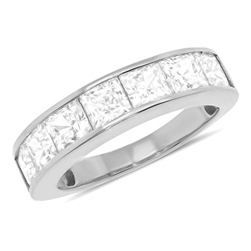 White Gold Princess Channel Set Anniversary Ring Wedding Band (5mm) 2 3/4 CT - Size 6.5 ()