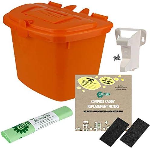 All-Green Cubo de Basura para Compost de Cocina, 7 L, con Soporte para Puerta, 4 filtros y 25 Bolsas compostables de 8 l, Color Naranja: Amazon.es: Hogar