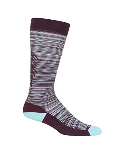 Icebreaker Merino Women's Lifestyle Light Over The Calf Tree Line Athletic Socks, Medium, Velvet/Dew