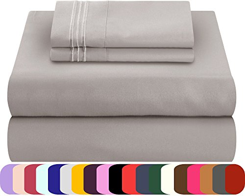 Mezzati Soft and Comfortable Bed Sheets Set – 1800 Prestige Brushed Microfiber Collection Bedding (Silver, Twin XL) (Silver Twin Bedding)