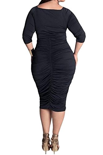 POSESHE Womens Plus Size Deep V Neck Wrap Ruched Waisted Bodycon Dress -  Women Dresses Online