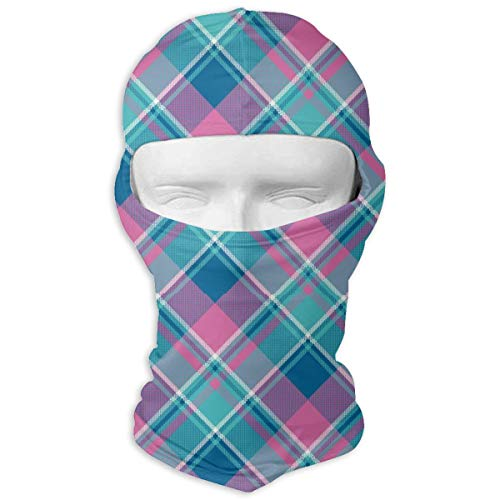 (Comfortable Baby Girl Pink Color Plaid Headcover Soft Balaclava Headwear Fit Full Hood Face Mask)