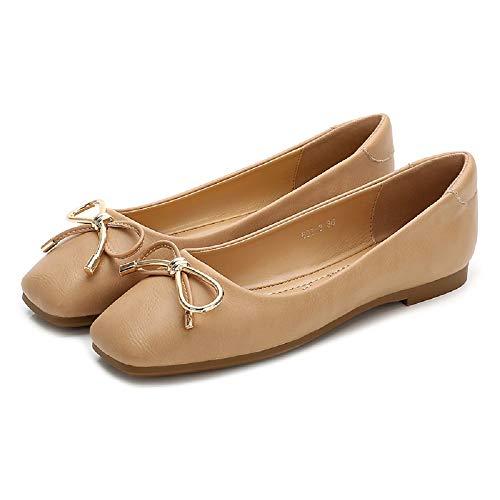 Taille Ballerines Square Femme 39 Toe coloré Soft Grandes Gris Beige Knot Fuxitoggo Eu Chaussures Large qn1wPaPUZ