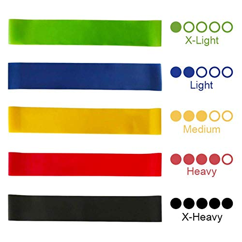 NAQIFU Resistance Loop Exercise Bands Set of 5 Workout Bands Fitness Bands Resistance Exercise Bands for Men Women Legs and Butt Yoga Home Fitness Gym Stretching Strength Training Pilates Flexbands