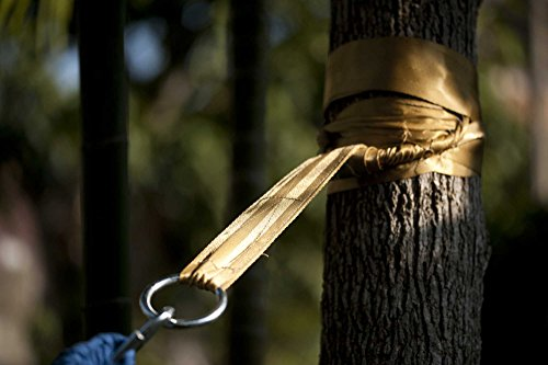 Hammock Tree Straps by Hammock Sky – Best Extra Long Hanging Straps for Camping & Travel – Heavy Duty 1200+ Lbs Capacity – Superior Polyester Material Works with All Hammocks & Larger Trees [Gold]
