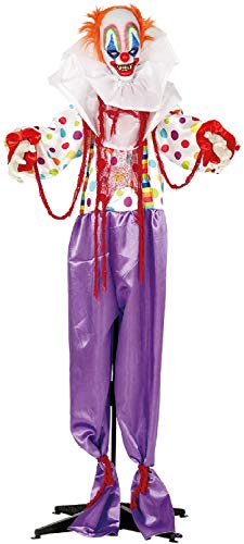Fancy Me 1.8m Animated Terror Clown With Lights Sound Motion Halloween Horror Scary Party Decoration Prop -