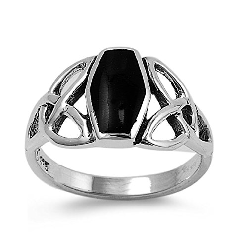 Shaped Simulated Onyx Stone Wicca Triquetra Coffin Ring 925 Sterling Silver Size 7