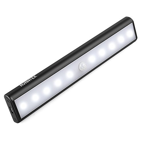 AVANTEK LED Closet Light USB Rechargeable, Night Light Flashlight, Motion-Activated Detachable Magnetic Strip for Closet Cabinet Wardrobe Stair (Black 10 LEDs) (Mind Won T Shut Off To Sleep)