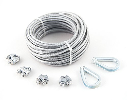 """3/32"""" x 1/8"""" x 50' Pvc-Coated Galvanized Aircraft Cable Kit - KingChain 505151"""