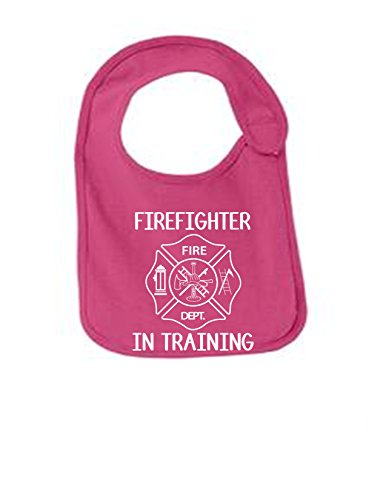 Firefighter In Training Funny Infant Jersey Bib Sangria One Size