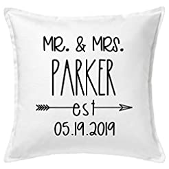 Custom Mr and Mrs Pillow Case, Bride and...