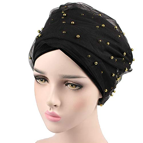 Mesh Headwrap - Women Velvet Turban Double Long Tail Mesh Pearl Headwrap Headband Turbante Hat (Black)