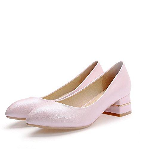 VogueZone009 Damen Ziehen auf Büffelleder Spitz Zehe Niedriger Absatz Rein Pumps Schuhe Pink
