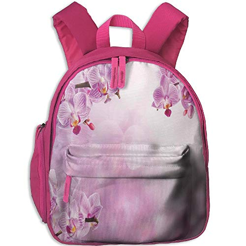 (Haixia Kids' Boy's&Girl's Bookbag with Pocket Spa Decor Wild Orchid Petals in Monochrome Design Bouquet Spring Bloom Seedling Growth Peaceful Nature Print Pink)