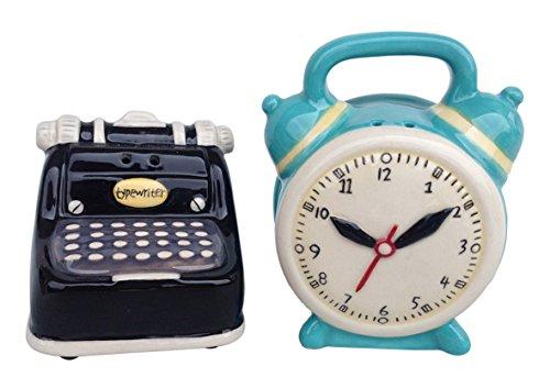 Blue Sky Ceramic Typewriter and Clock Salt & Pepper Set Multicolor