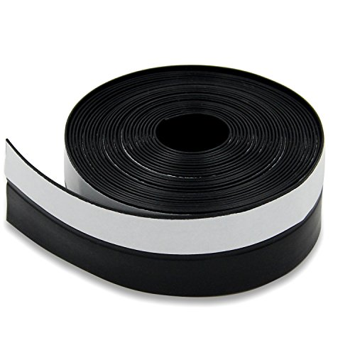 Window Weatherstrip Seal, Self Adhesive Door Draft Stopper Frameless Garage Door Strip Soundproof Door Sweep-16 Feet Length-1-3/4 inch (45mm, (Black Self Adhesive Weatherstrip)