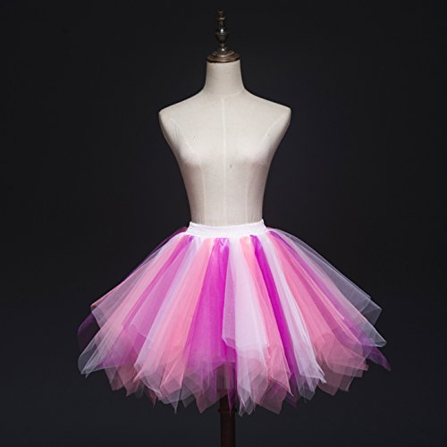Feoya Mujer Falda Enaguas Corta Tul Plisada Fiesta Vintage Retro Ballet Princesas Tutú Blanco + Rosa + Rosa Rojo