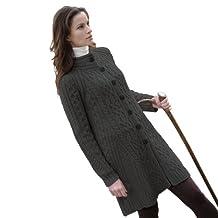100% Irish Merino Wool Ladies Aran Knit Flared Coat by West End Knitwear