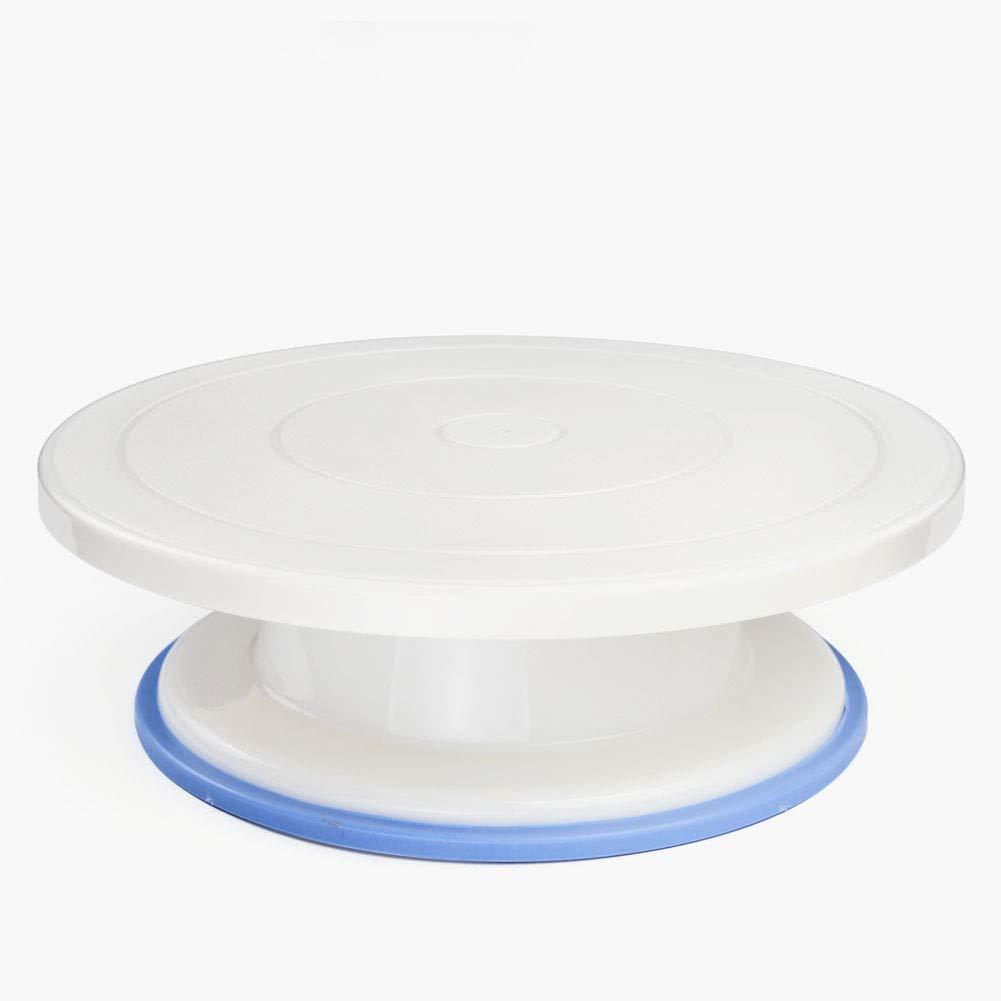 SHANGPEIXUAN Rotating Cake Turntable,11'' Revolving Cake Stand,Food Grade Plastic Non-slip Cake Decorating Supplies (Plastic, W 11'' H 3.5'')