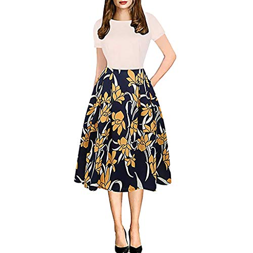 Women Vintage Casual Swing 3/4 Sleeve Patchwork Floral Midi Dress with Pockets for Work
