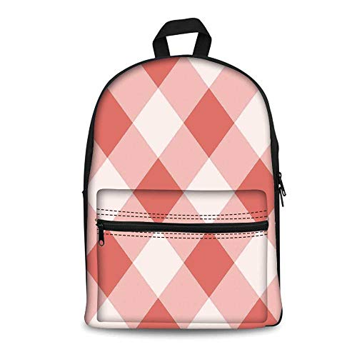 Coral Stylish Canvas School Bag,Vintage Peach Echo Geometrical Mosaic Diagonal Fractal Tartan Bands Figure Image for School Travel,11.4