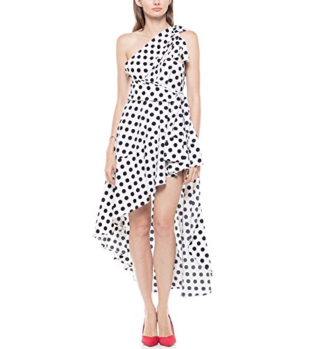 othing Pattern One Off Shoulder Ruffle Dress - Red/White, White/Black (Size S - XXL) (White/Black, XX-Large) ()